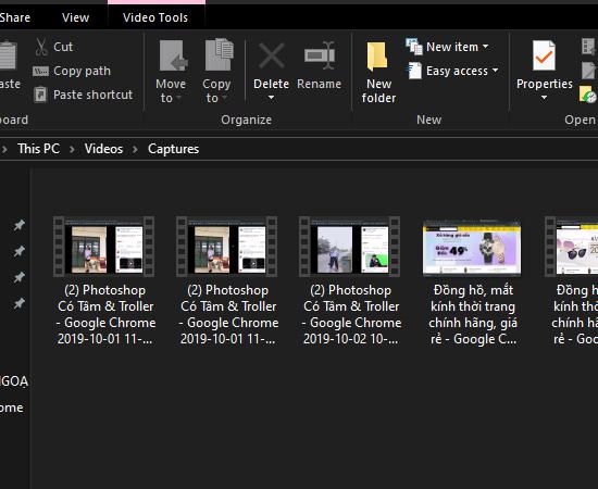 Video ghi hình của bạn sẽ được lưu trữ tại Videos\Captures.