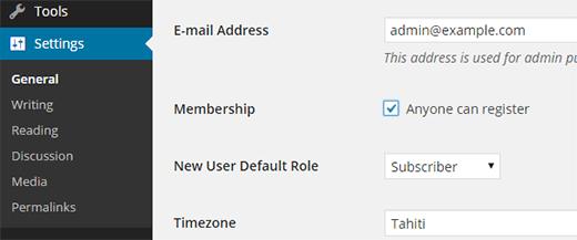 Enable user registration in WordPress