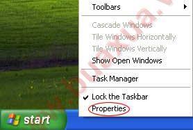 Nhấn chuột phải vào thanh Taskbar và chọn Properties